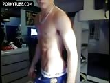 shirtless aussie cums on himself