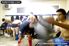 Accidental boner in locker room