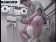 young fat guy spy out at toilet