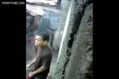 Worker is caught in a small street